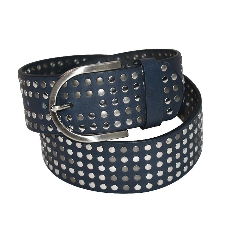 The Stud Belt (Blue Jean/Silver)