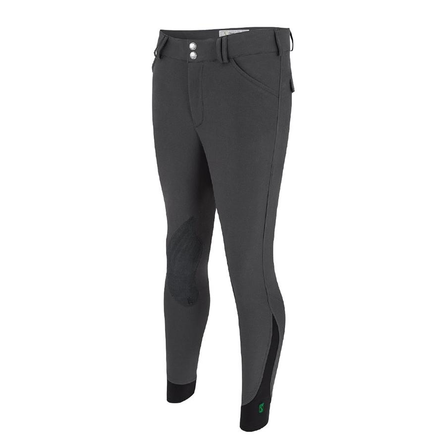 Mens Symphony Verde Front Zip Knee Patch Breech (Charcoal) (CLOSEOUT)
