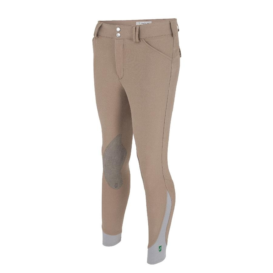 Mens Symphony Verde Front Zip Knee Patch Breech (Tan) (CLOSEOUT)