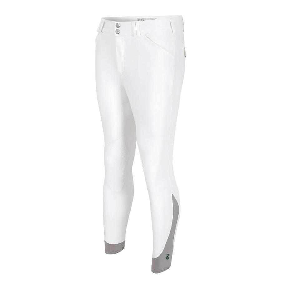 Mens Symphony 3 Verde Front Zip Knee Patch Breech (White)