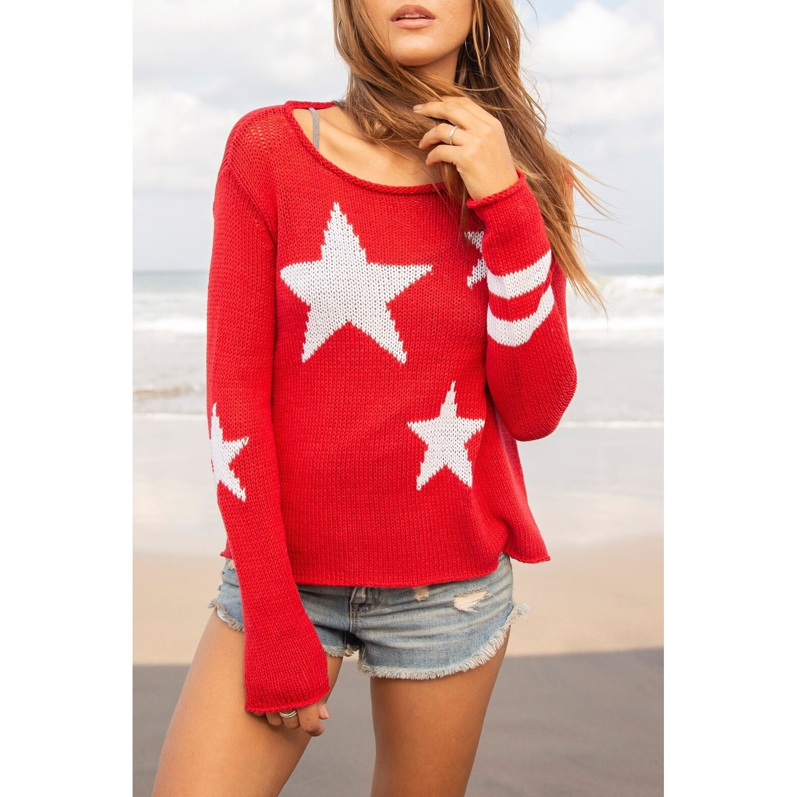 Ladies Stars and Stripes Cotton Sweater (Red/ White)