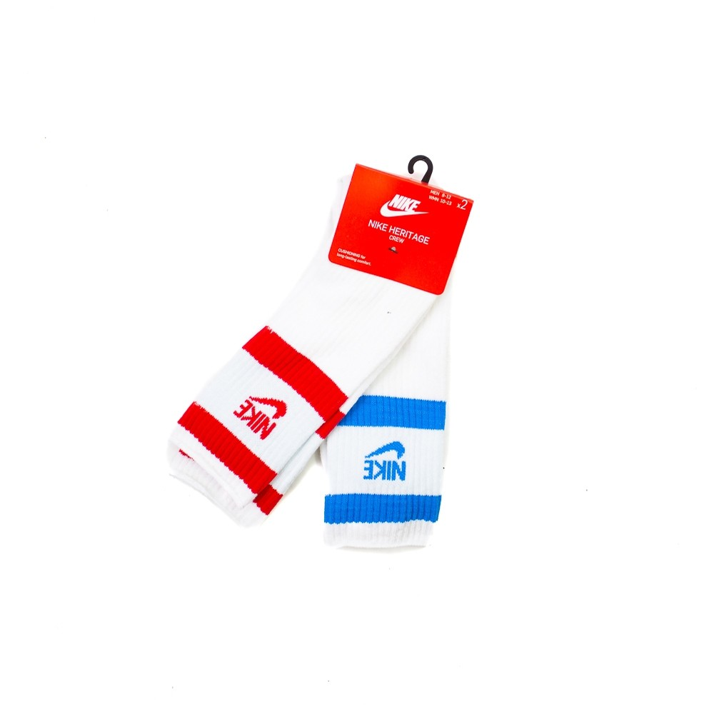 Nike Heritage Crew 2-Pack (White/Blue & White/Red)