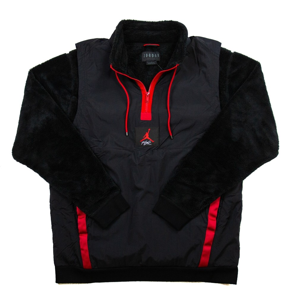 Wings Of Flight 1/4 Zip Fleece Jacket (Black/Gym Red)