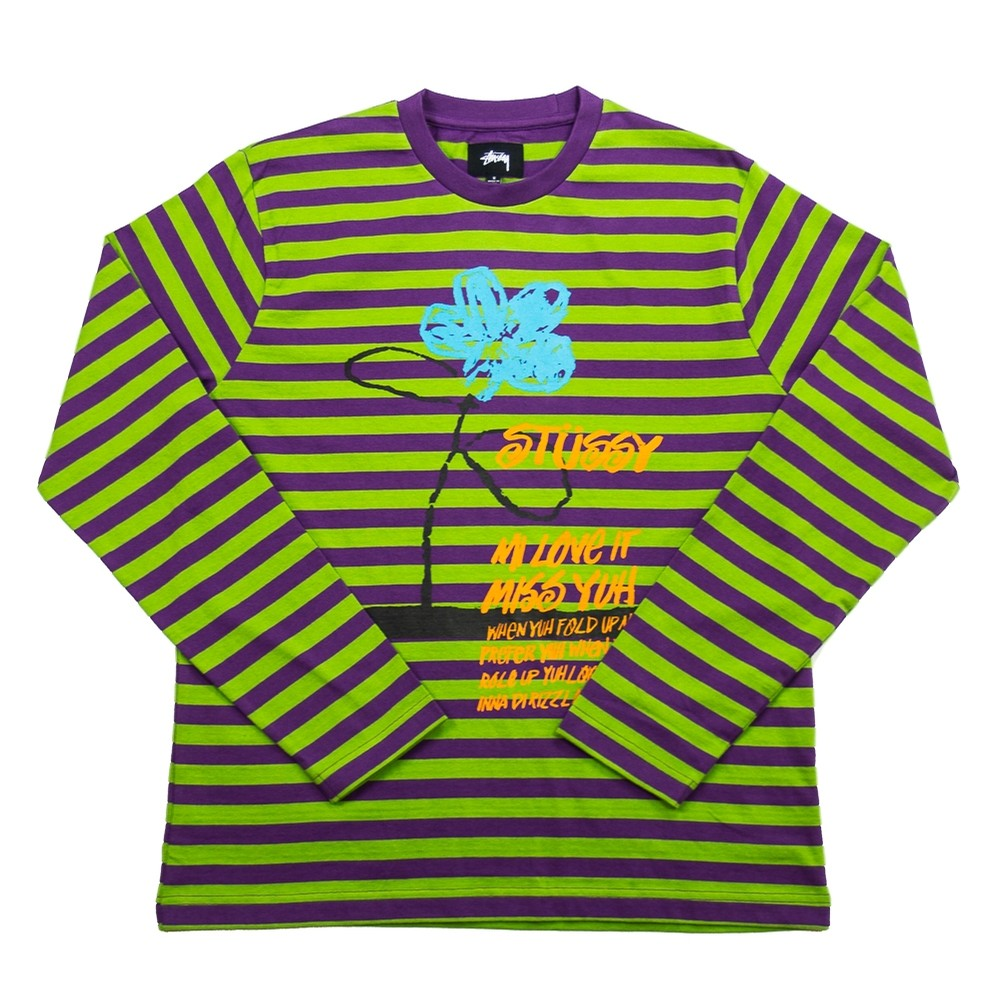 Flower Stripe LS Crew (Purple)