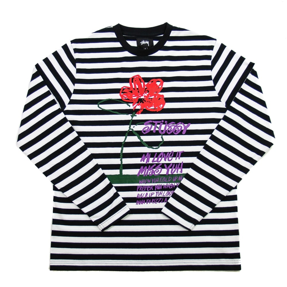 Flower Stripe LS Crew (Black)