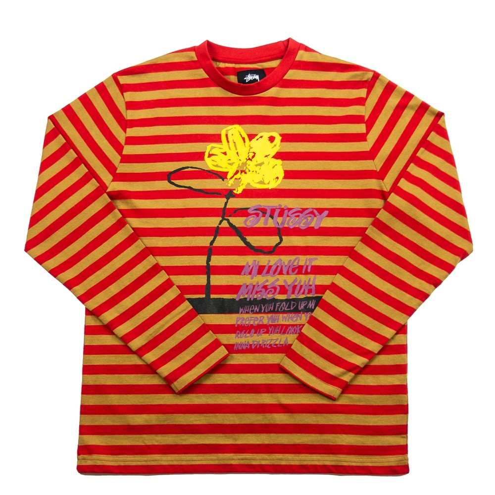 Flower Stripe LS Crew (Red)