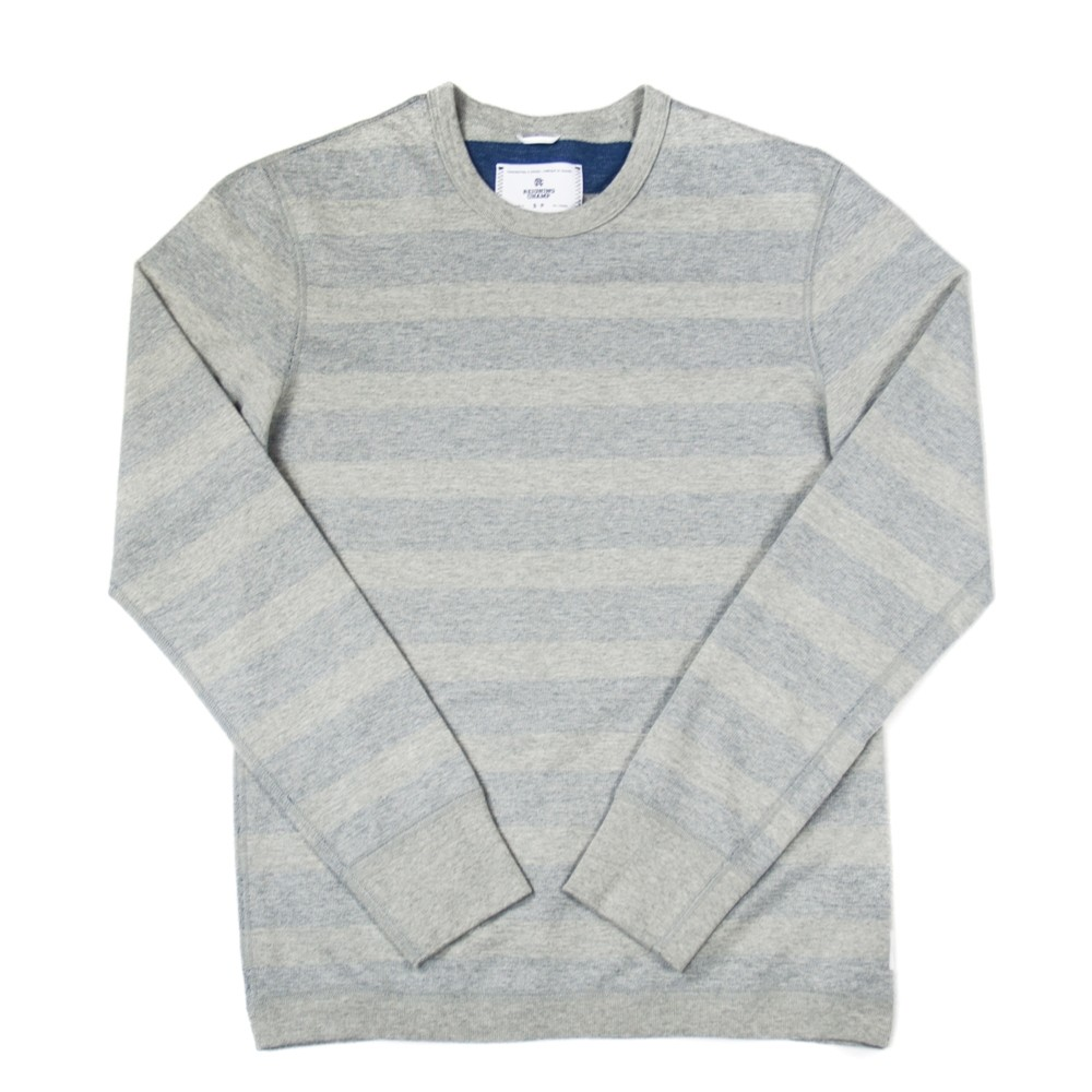 Striped Terry Reversible Crewneck (Grey/Court Blue)
