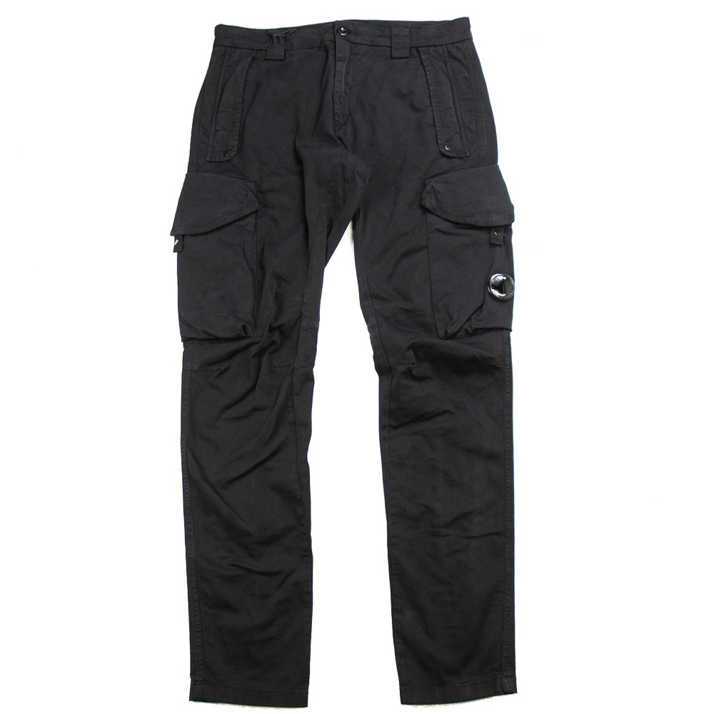 Garment Dyed Sateen Lens Cargo Pants (Black)