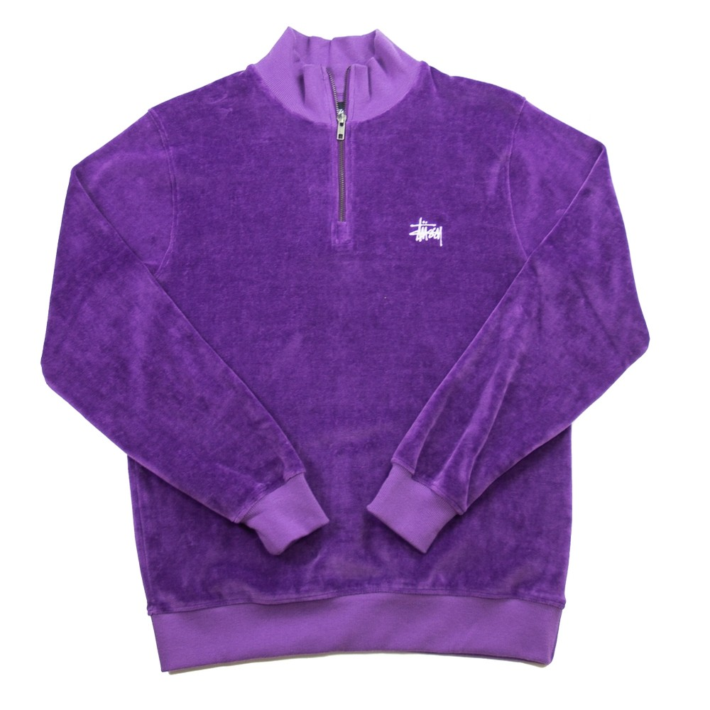 Velour LS Zip Mock (Purple)