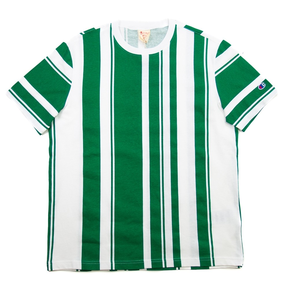Champion EU Reverse Weave Crewneck T Shirt (Green Stripe)