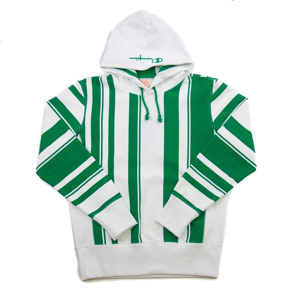 Reverse Weave Hooded Sweatshirt (Green Stripe)