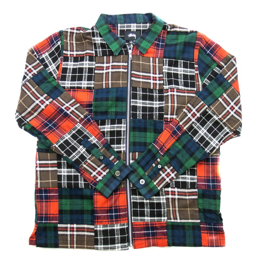 Patchwork Zip Up LS Shirt (Plaid)