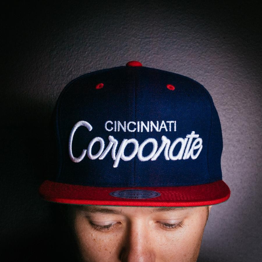 Corporate Corporate X Mitchell and Ness Snapback (Navy/Red)