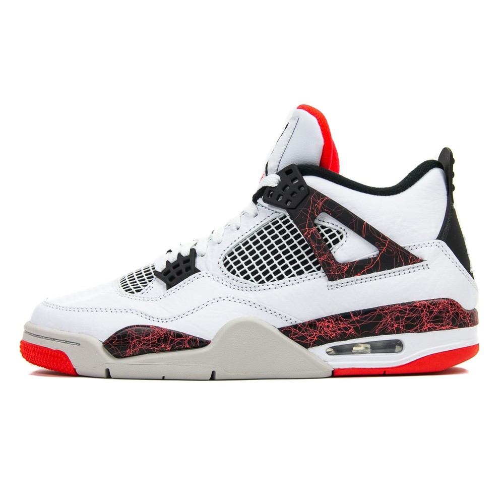 Air Jordan 4 Retro (White/Black/Bright Crimson)