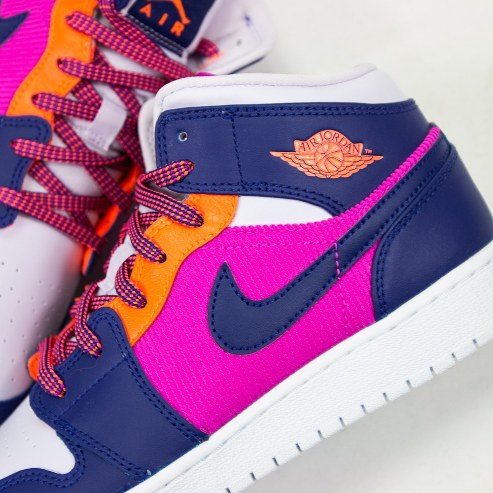 Air Jordan 1 Mid GS ( FIRE PINK/REGENCY PURPLE-BARELY GRAPE)