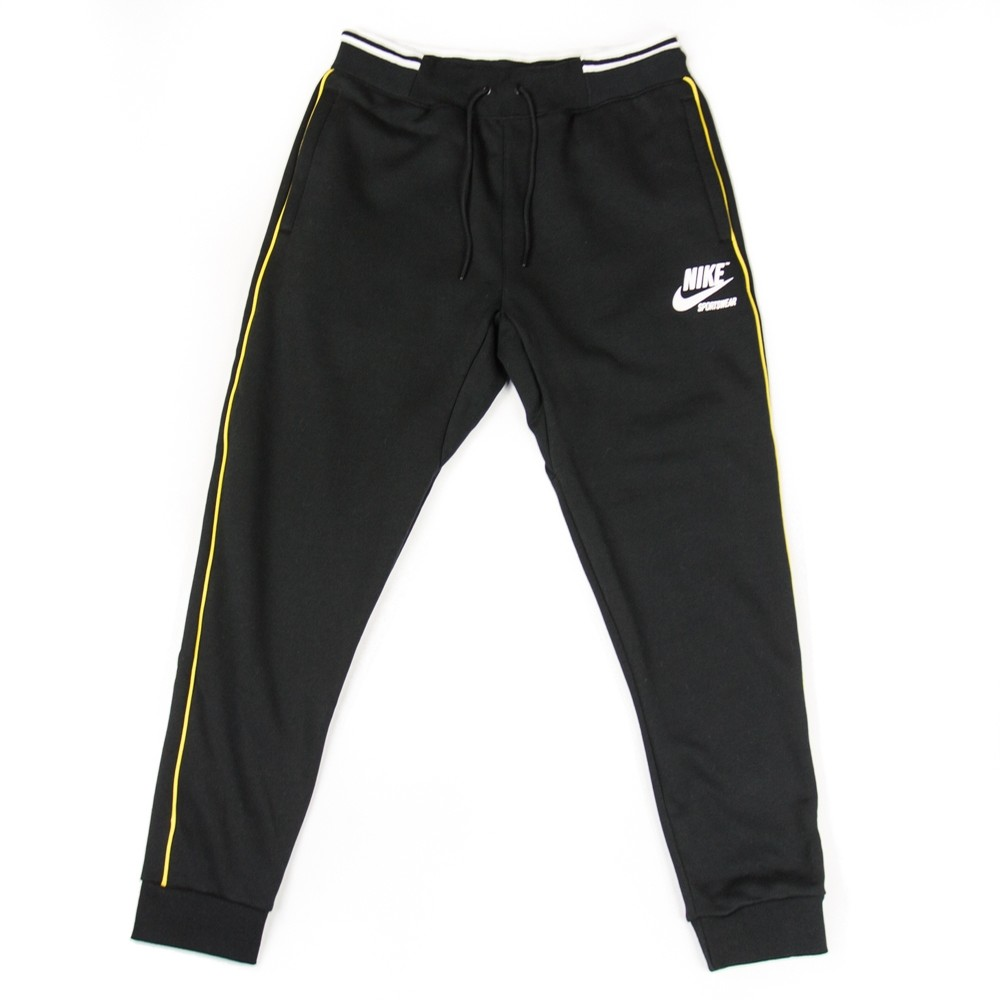 Mens Nike Sportswear Fleece Pants (Black/Vivid Sulfur)