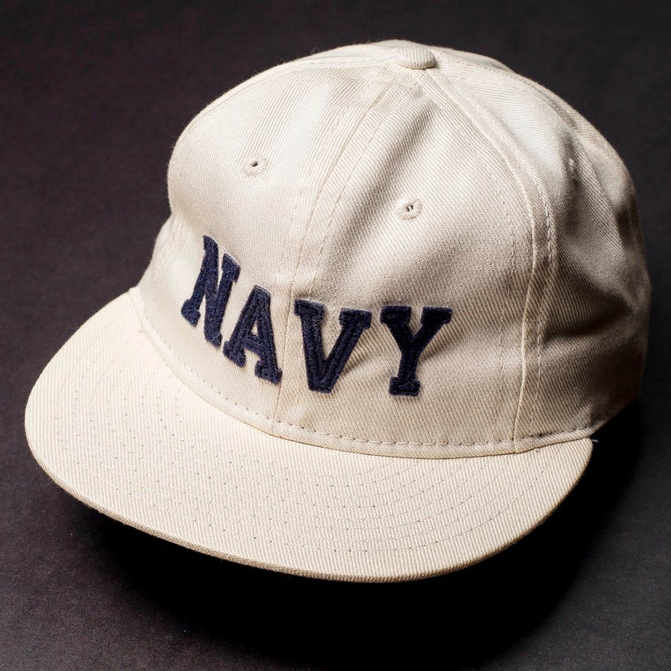 Navy Leather StrapBack (Off White)