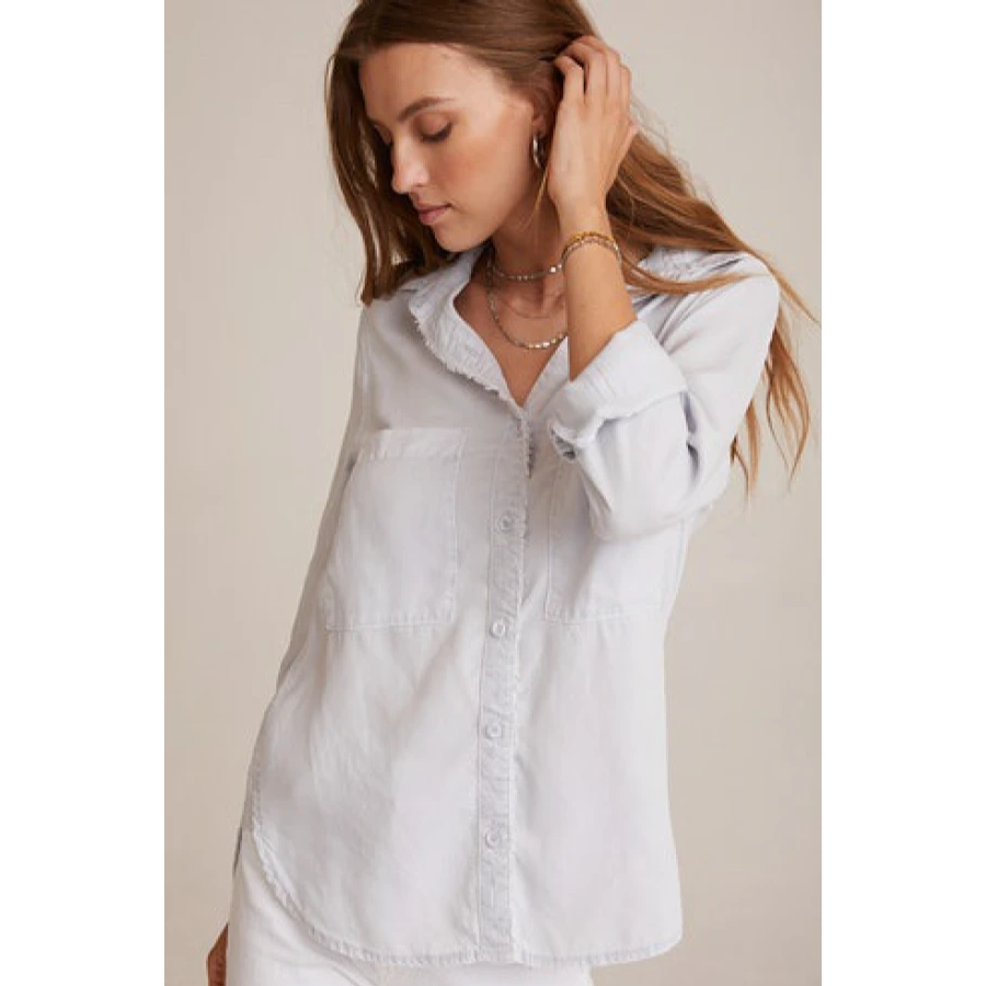 Fray Placket Shirt (Grey Dove)