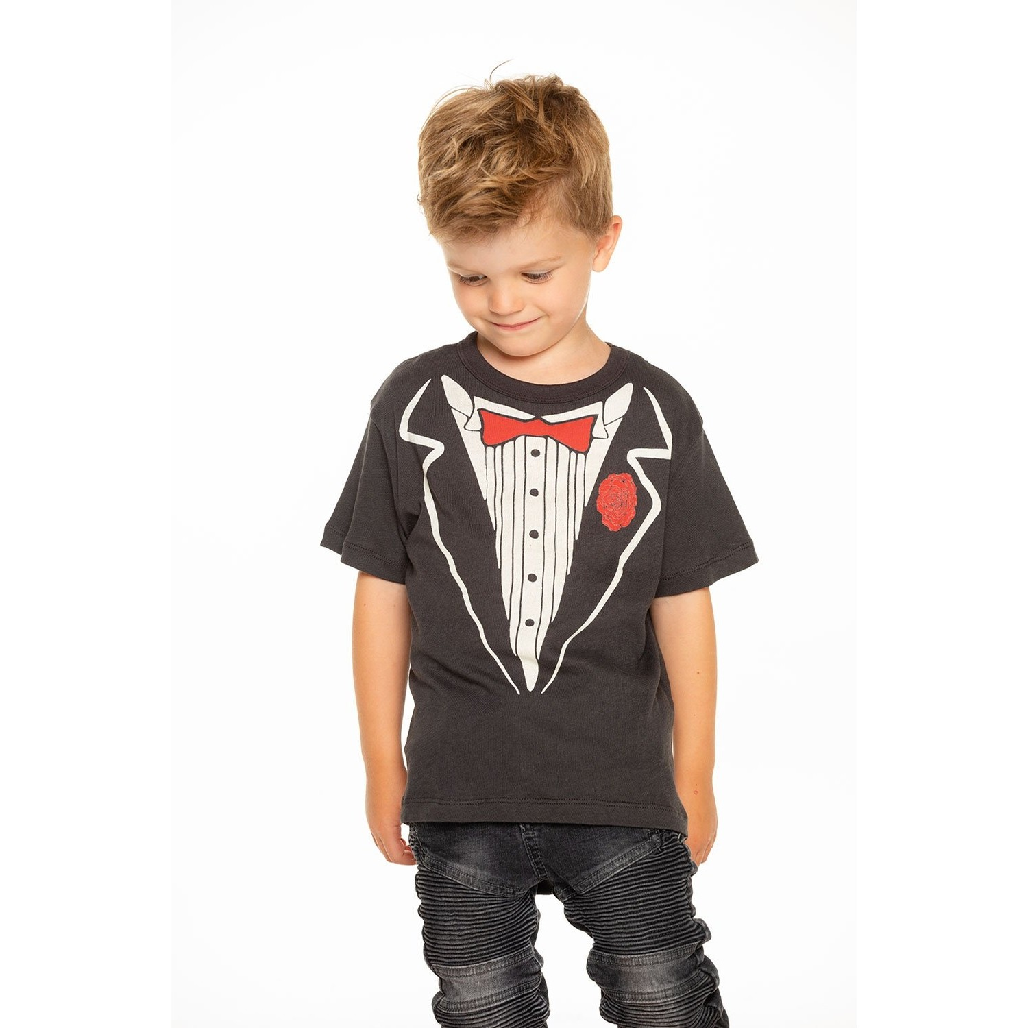 Boys Gauzy Cotton Short Sleeve Tee (Vintage Black)