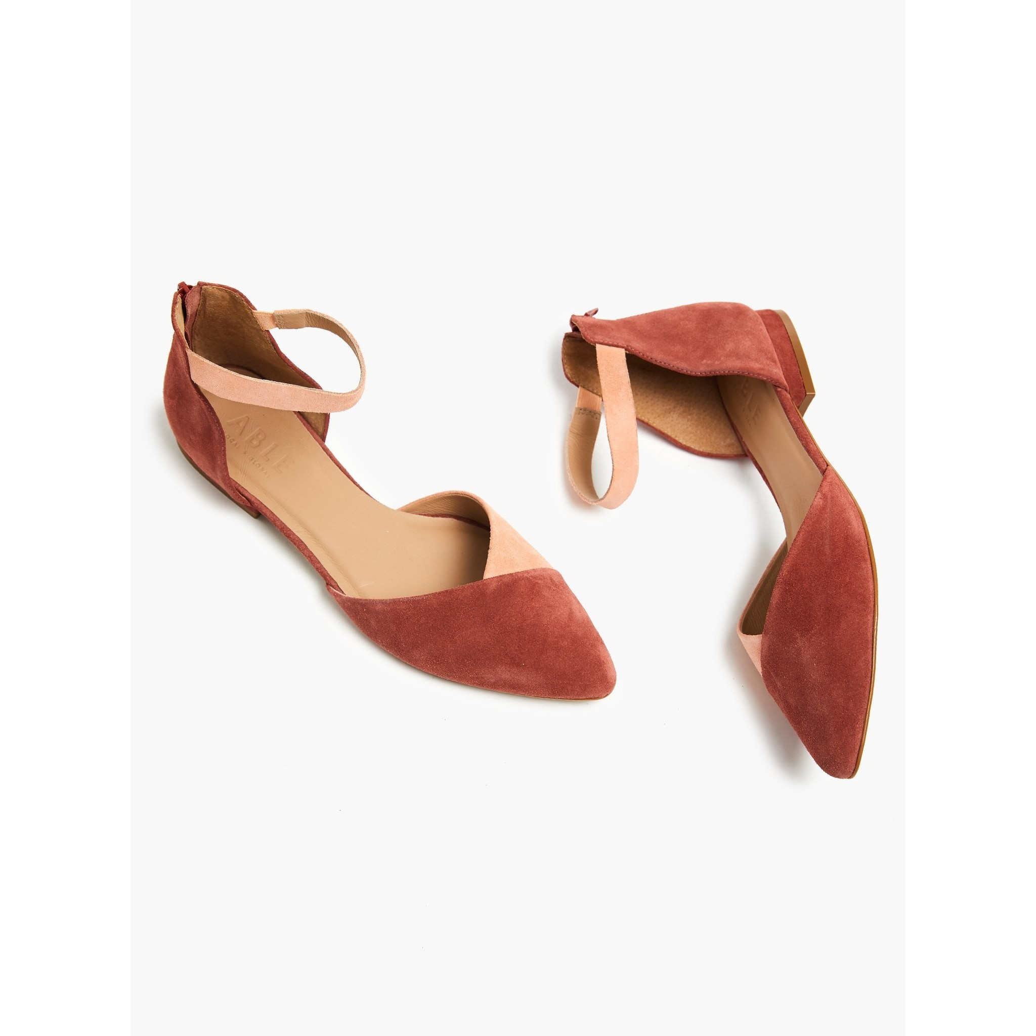 Marlene Ankle Strap Flat (Brick Red/Rose)
