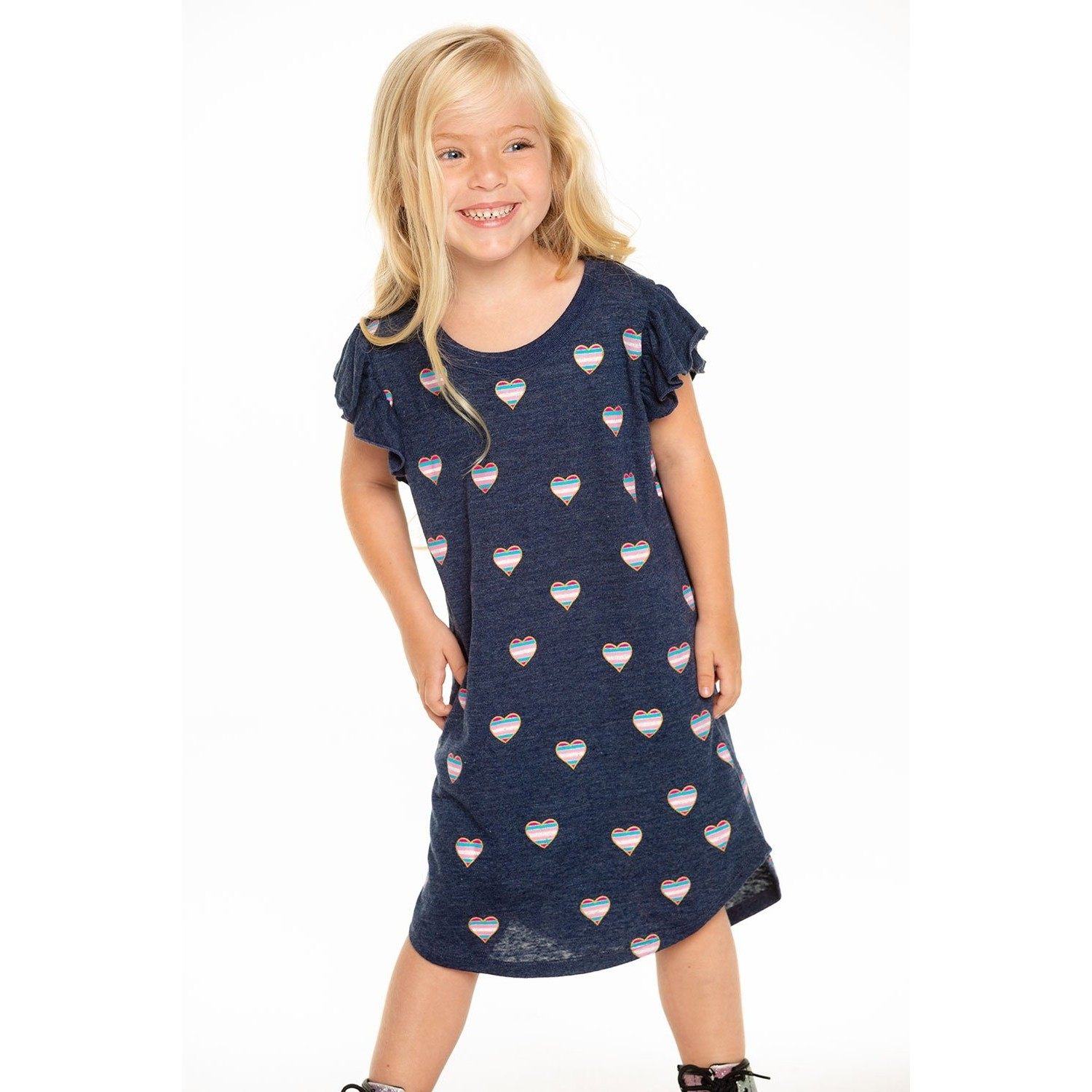Girls Triblend Flutter Sleeve Shirttail Dress (Avalon)