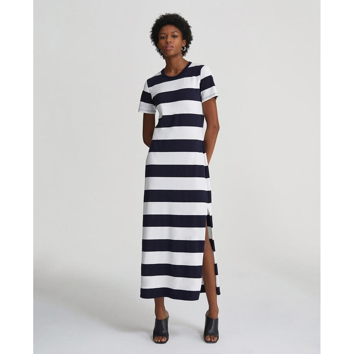 Alana Maxi Dress (Navy White Stripe)