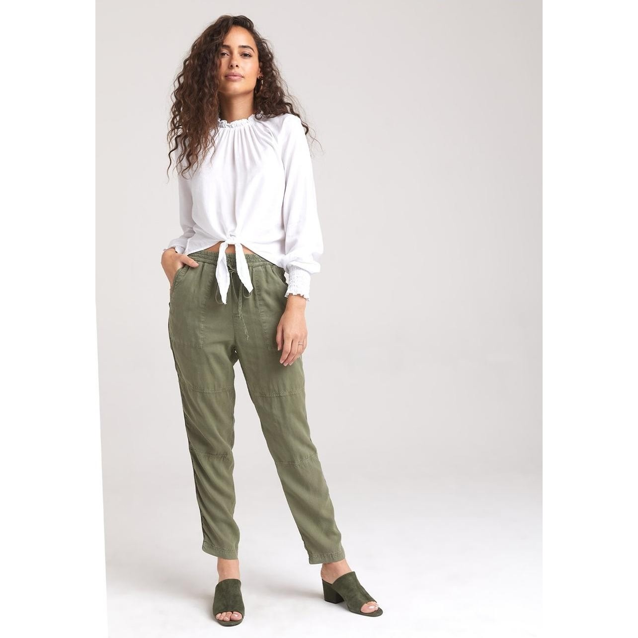 Side Trim High Waisted Pant (Olive)