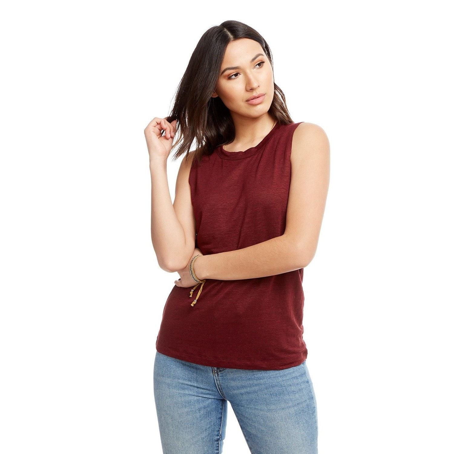 Linen Jersey Seam Back Muscle Tank (Dark Ruby)