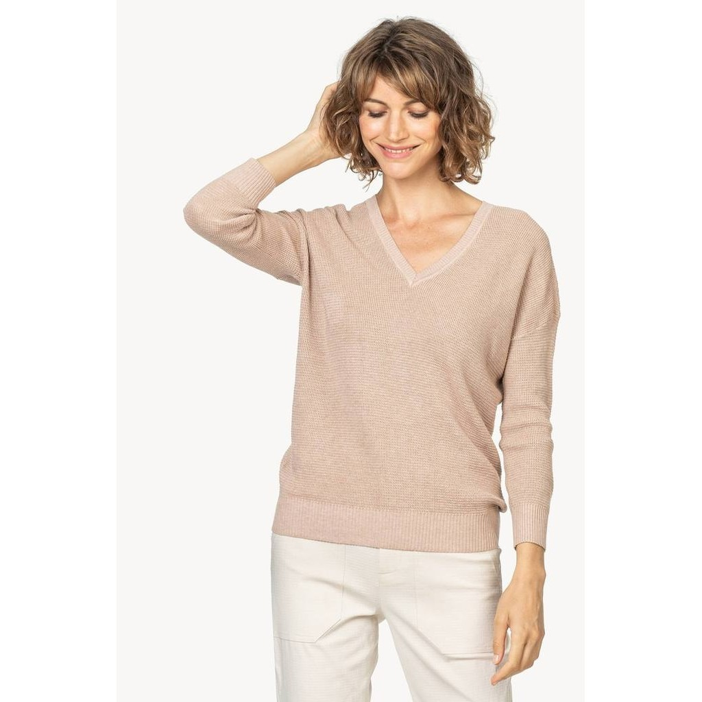 3/4 Sleeve V Neck Waffle Knit Sweater (Bisque)