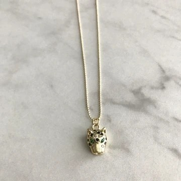 Pave Charm Necklace (Leopard with Green Eyes)