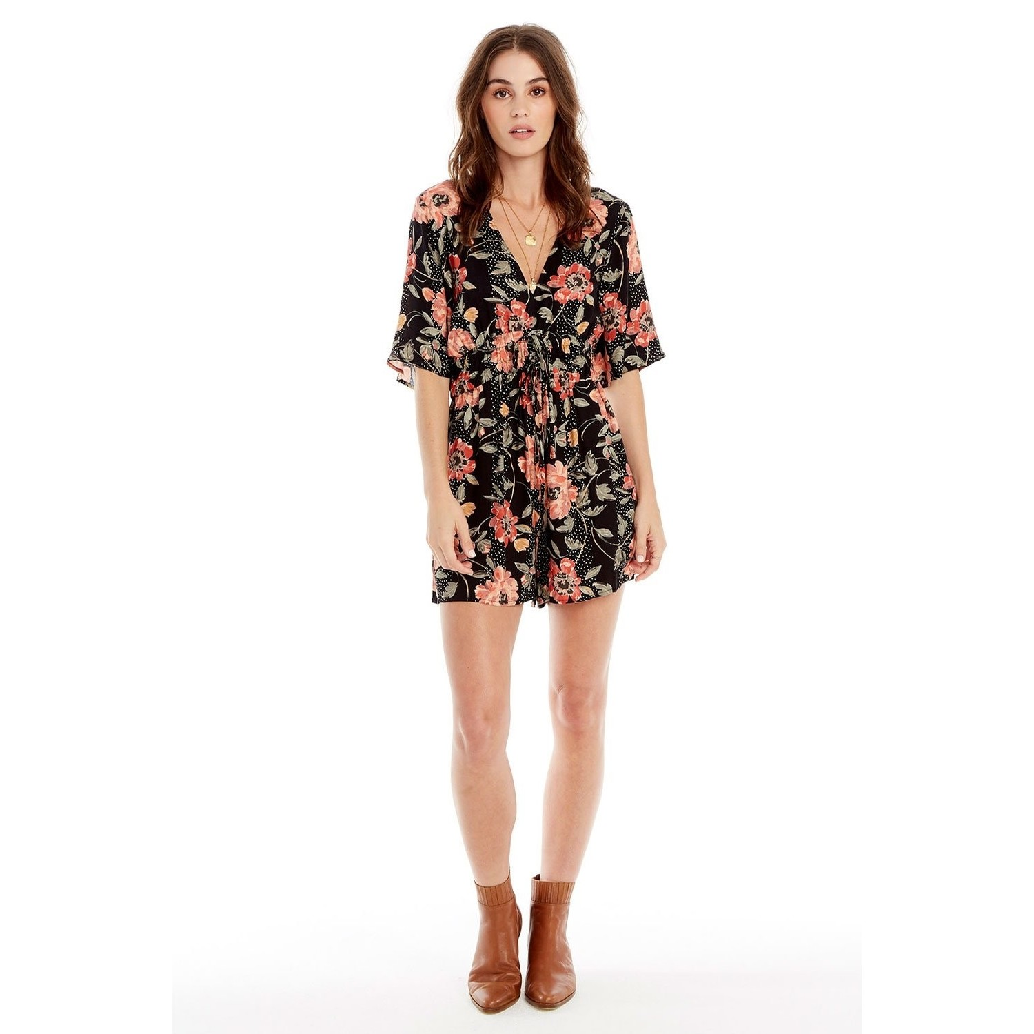 Lido Double Tie Front Romper (Mixed Floral Dot)