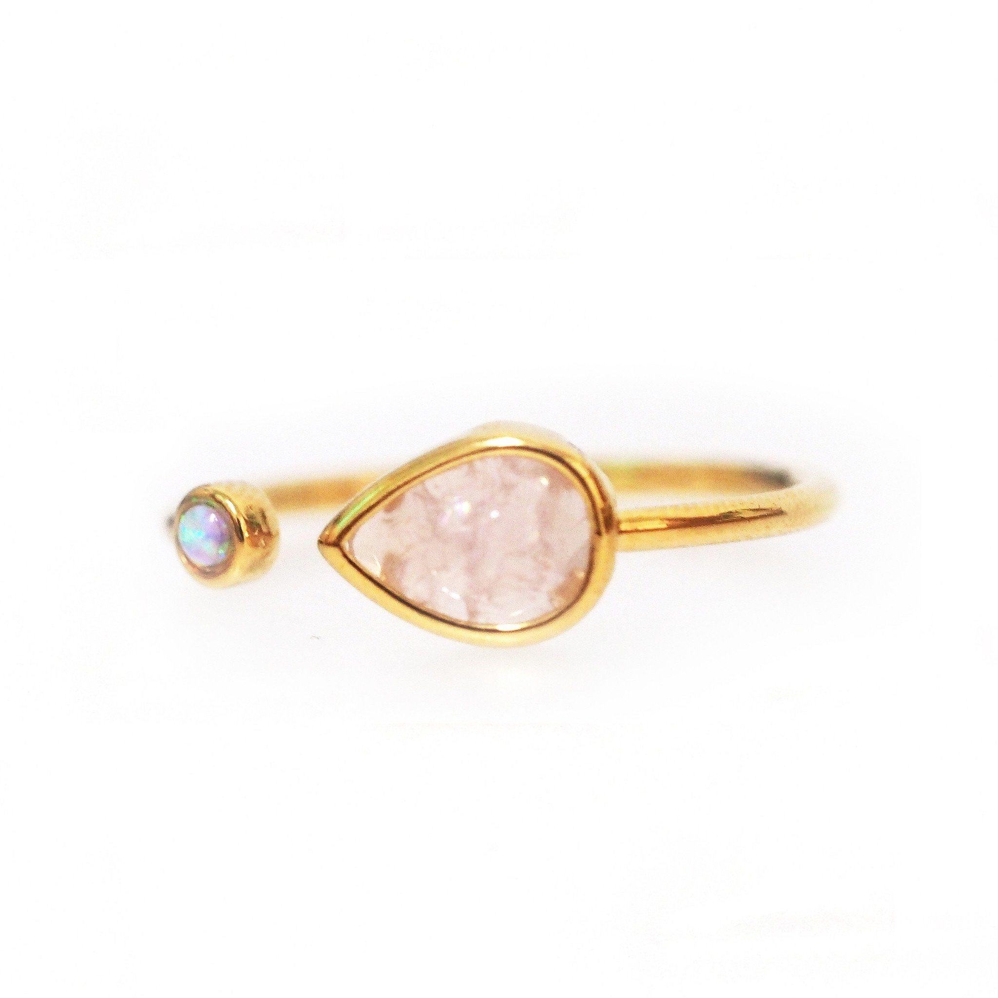 Adjustable Open Opal Ring (Gold/Rose)