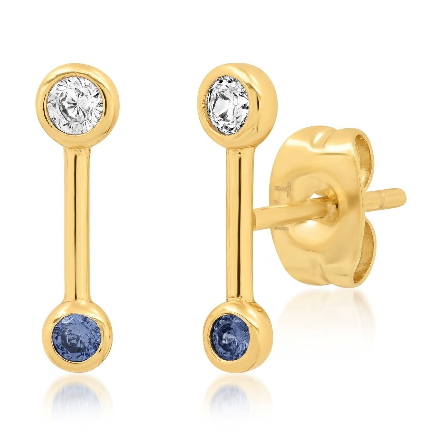 Stick and CZ Stud Earring (Gold/Blue)
