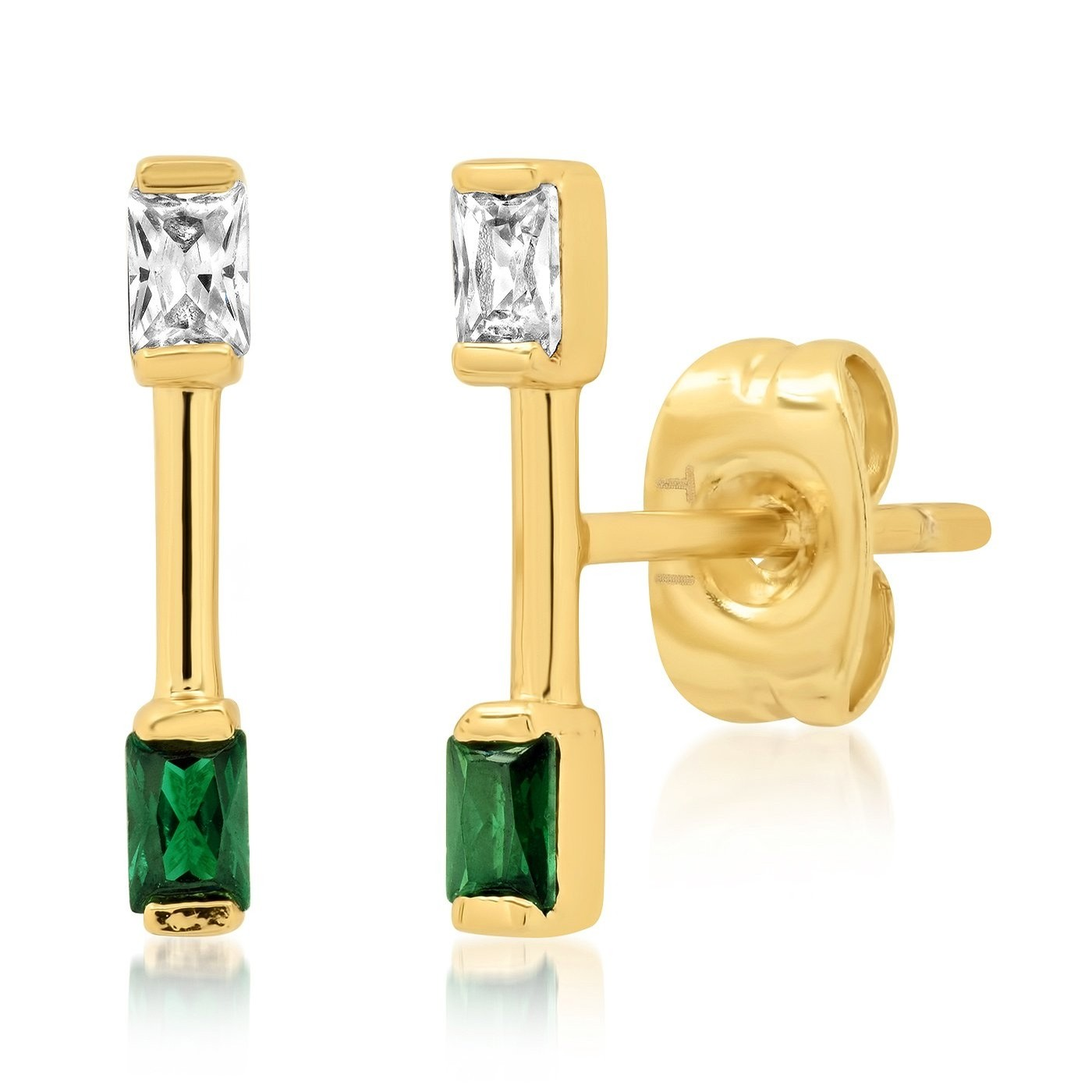 Stick and CZ Stud Earring (Gold/Green)