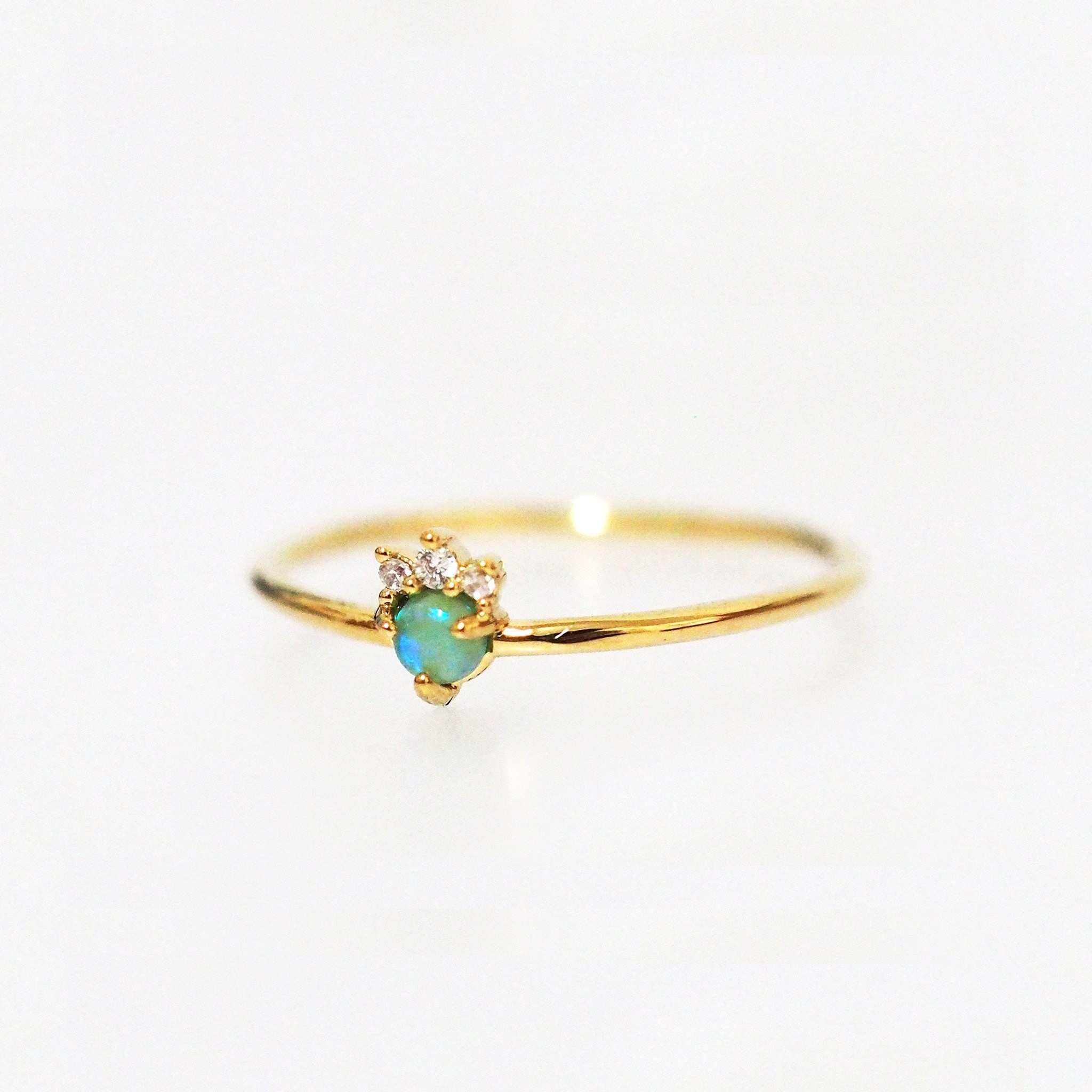 Opal and Triple CZ Crown Ring (Gold)