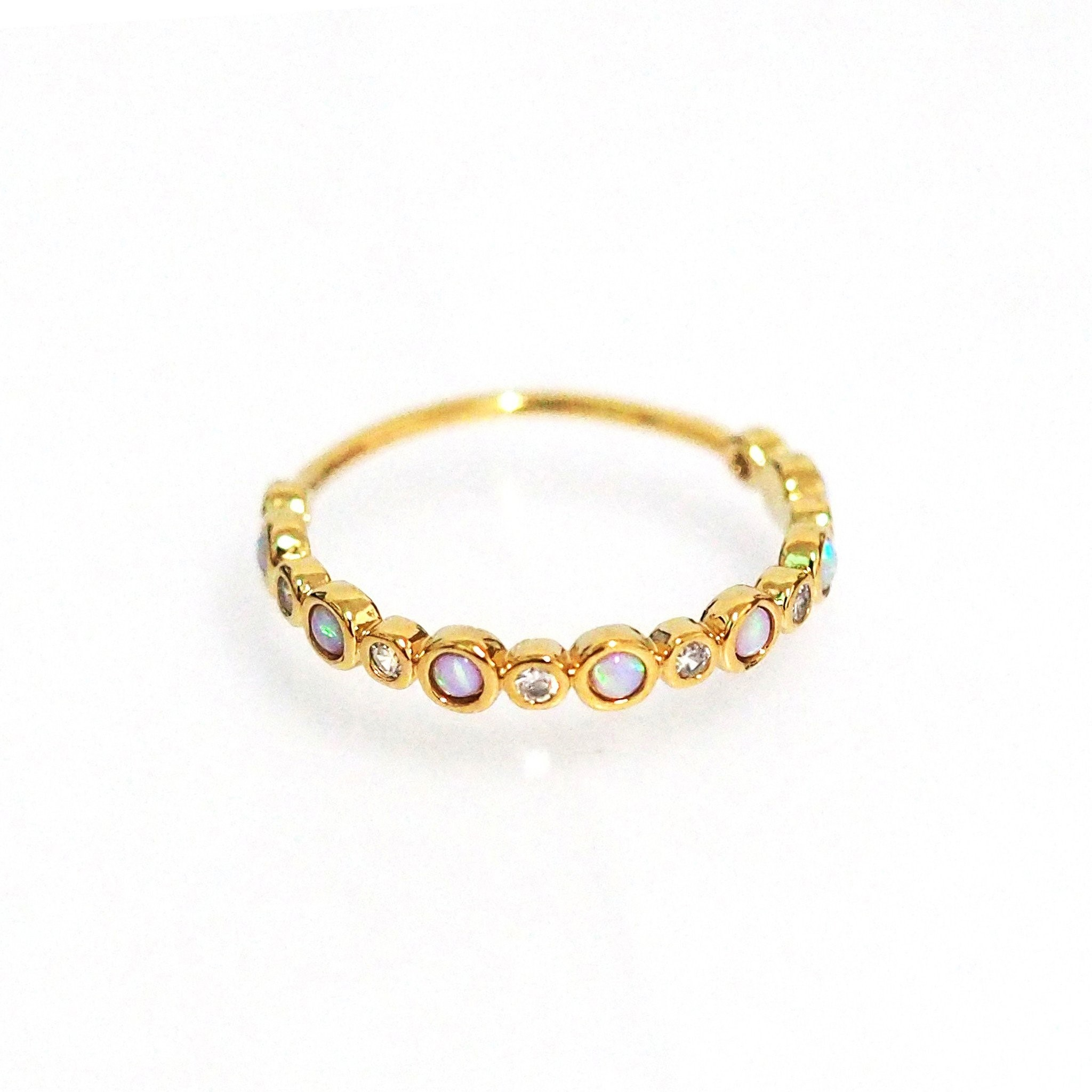 Bezel Set Opal and CZ Ring (Gold)