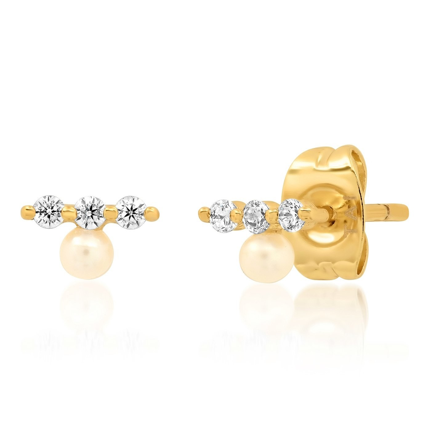Small Pearl Post with CZ Bar Stud Earring (Gold)