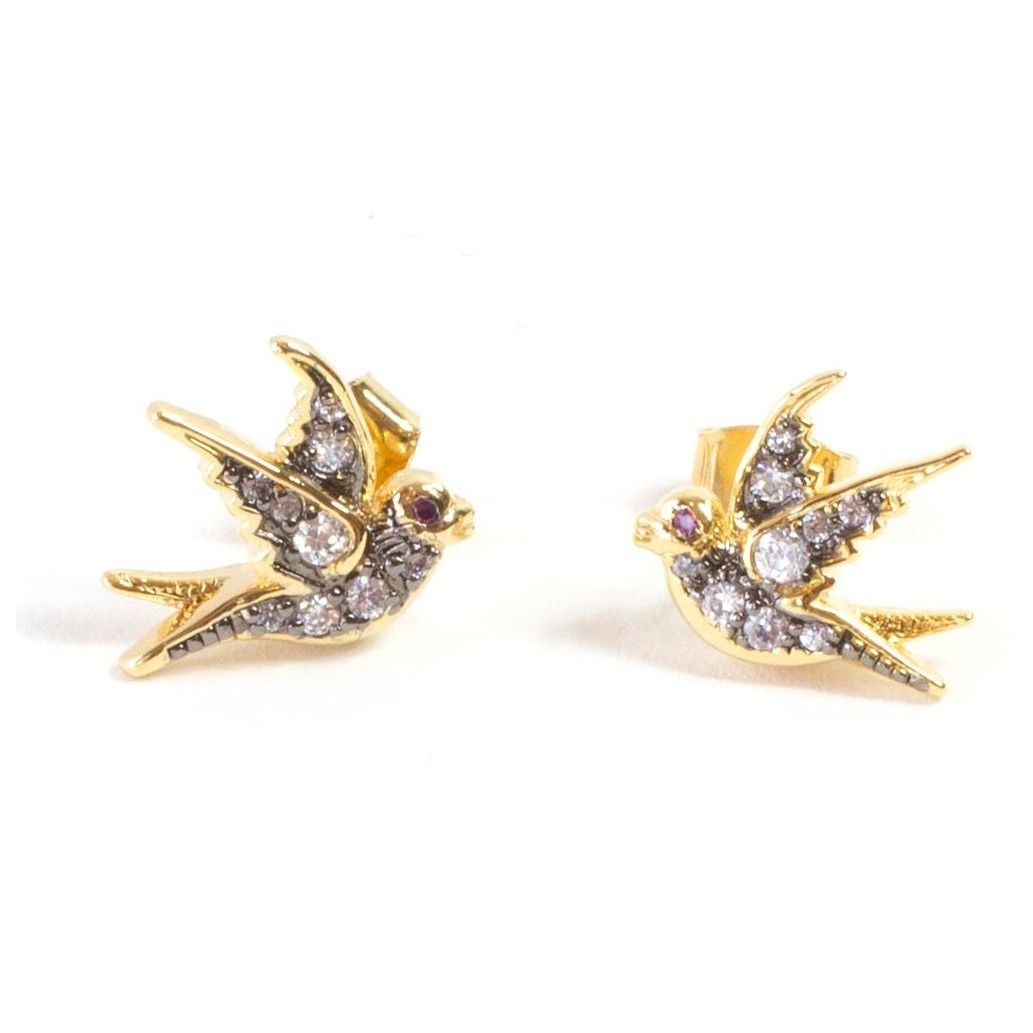 Sparrow Stud Earring (Gold/Oxidized Silver)