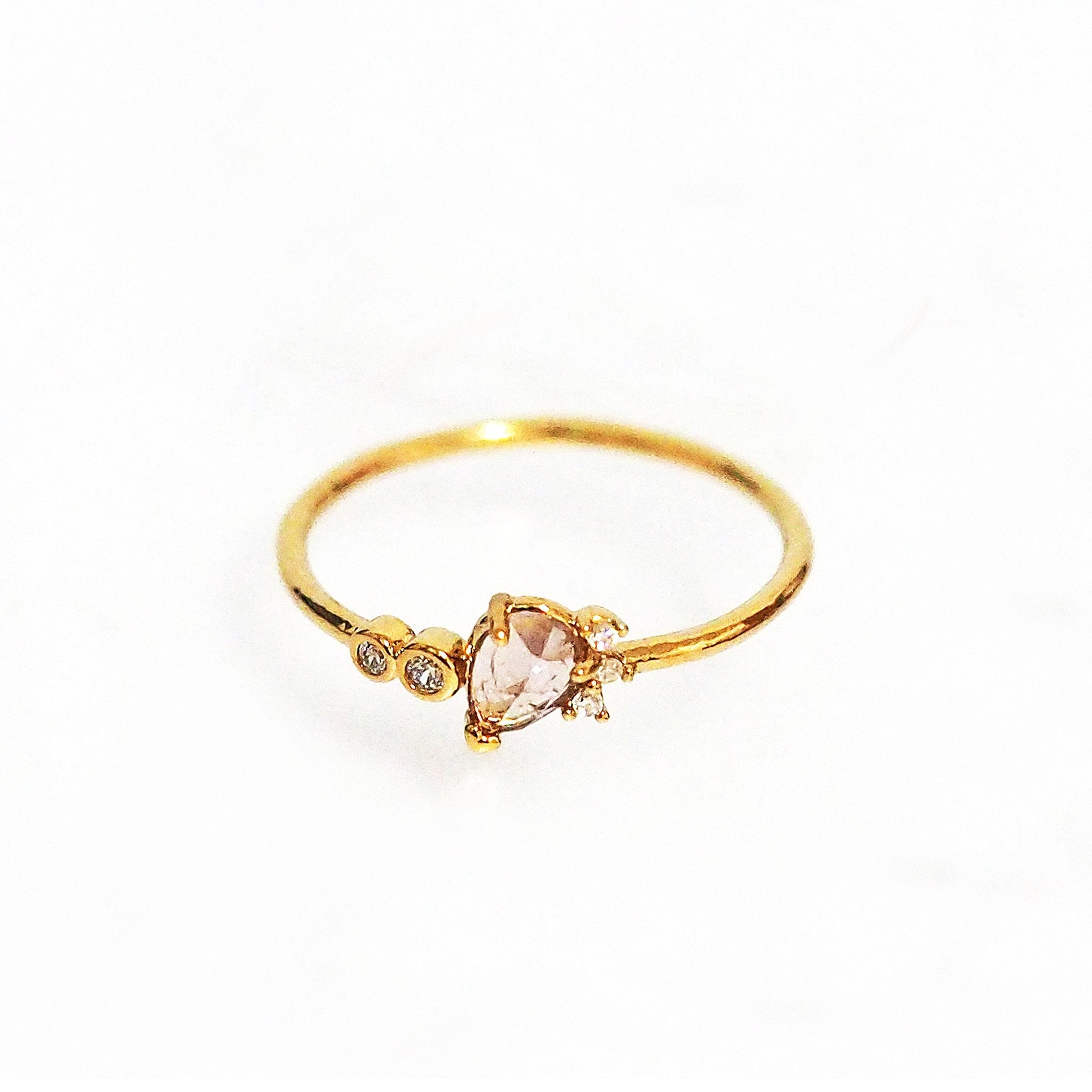 Teardrop Crystal and CZ Ring (Gold)