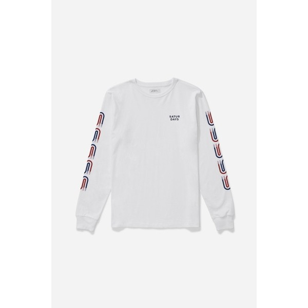 Striped S L/S Tee: White