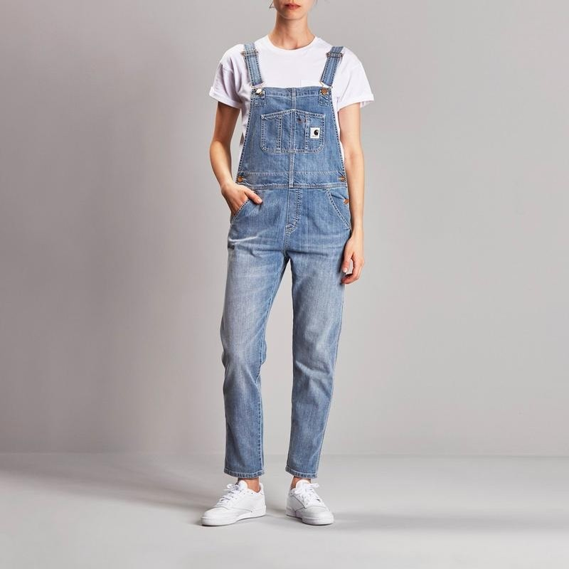 W Bib Overall: Blue Light Stone Washed