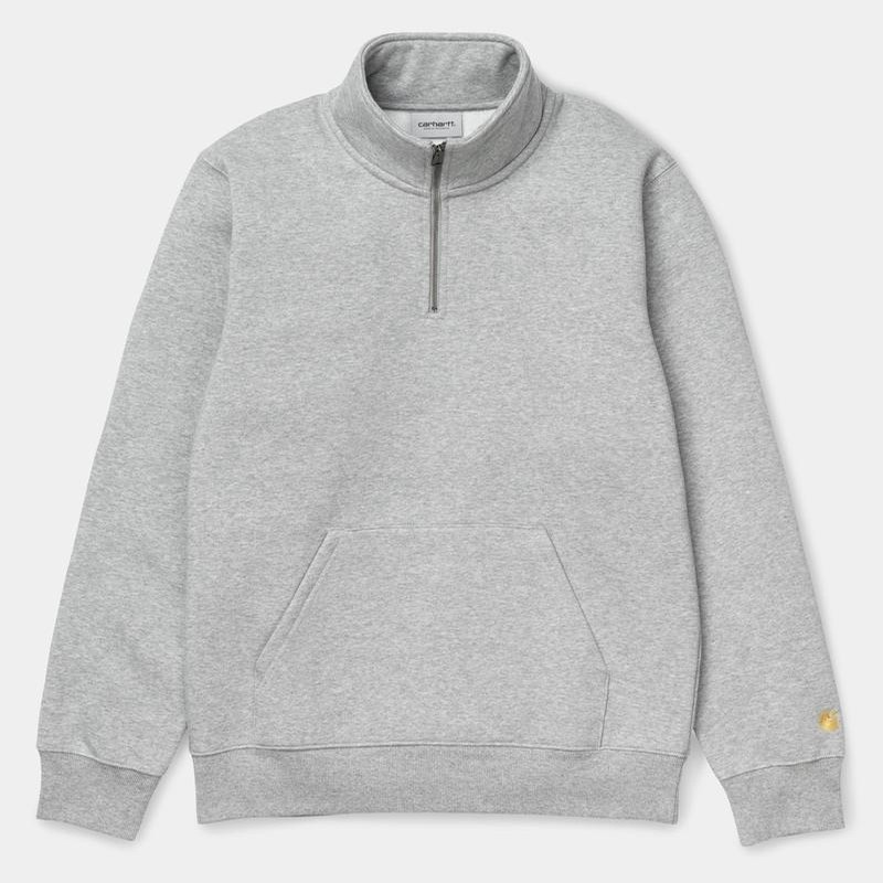 Chase Neck Zip Sweatshirt: Grey Heather/Gold