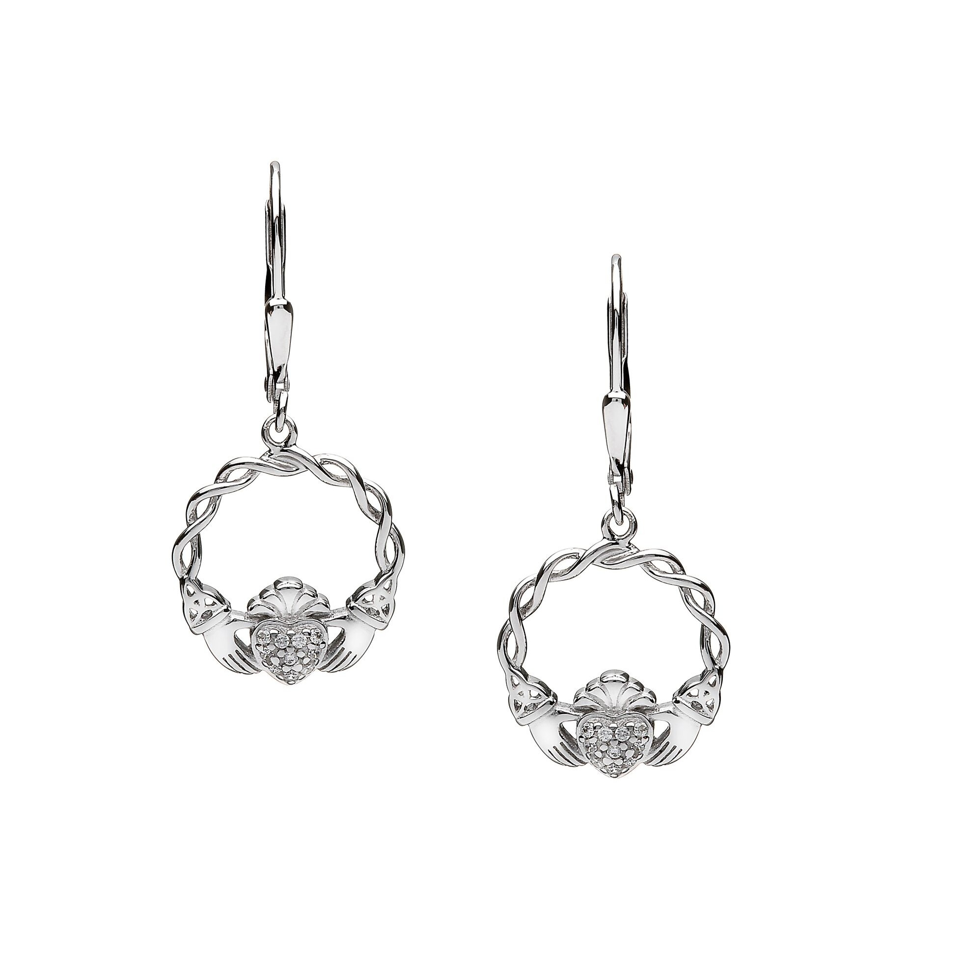 Claddagh Earrings with Pave CZ Heart