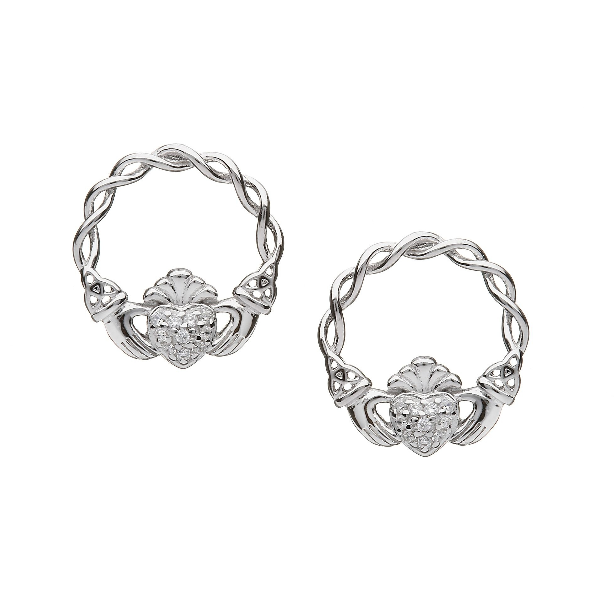 Claddagh Stud Earrings with Pave CZ Heart