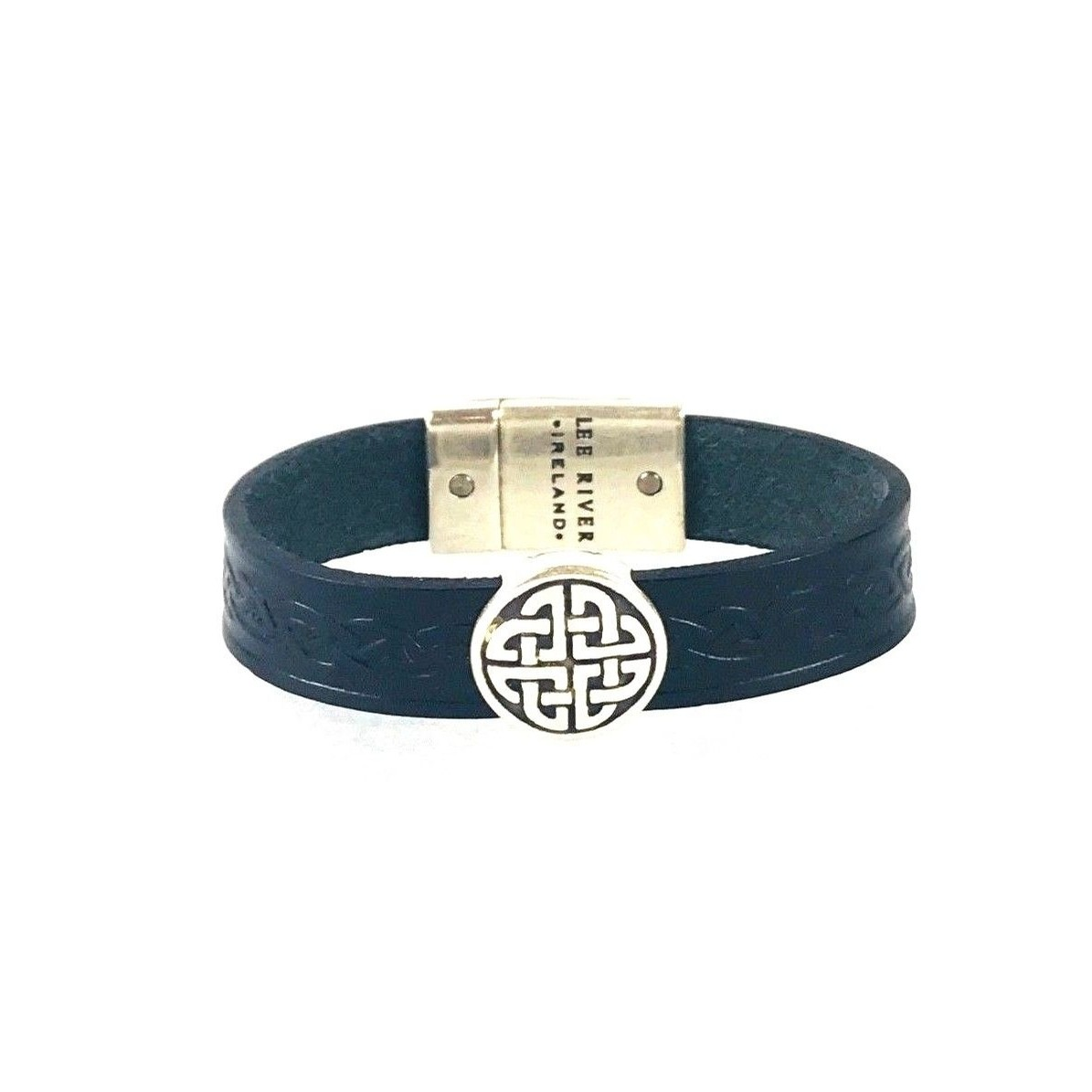 Celtic Leather Cuff from Ireland (Knot Blue)