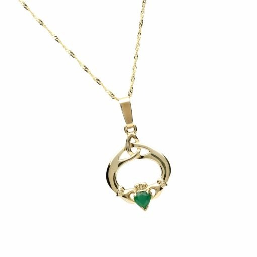 Claddagh Trinity Gold Emerald CZ Irish Pendant