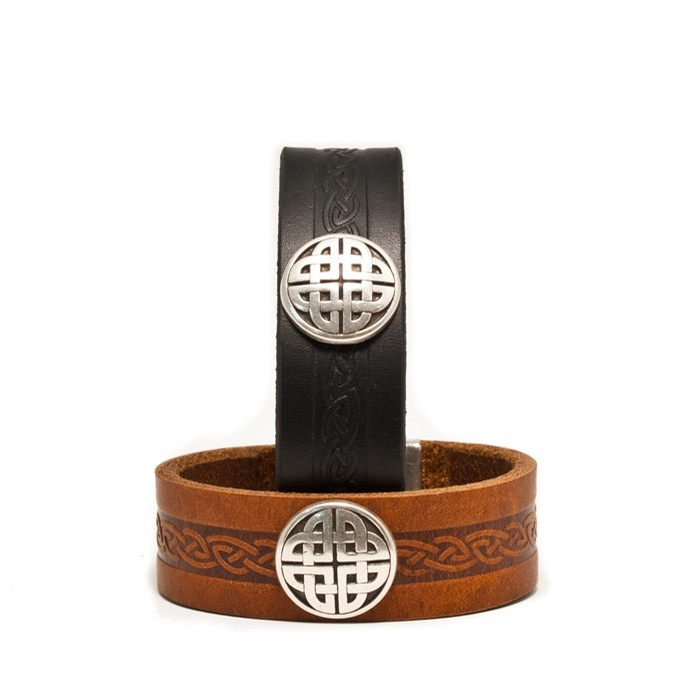 Celtic Leather Cuff from Ireland (Snap Brown)