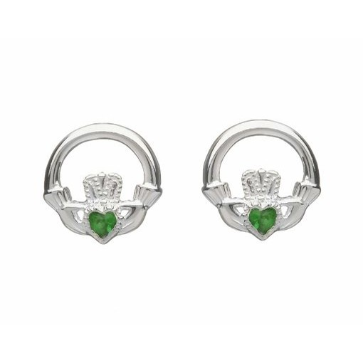 Irish Claddagh Stud Earrings Green Stone Set