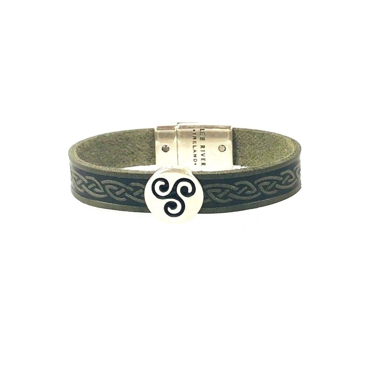Celtic Leather Cuff from Ireland (Triskle Green)