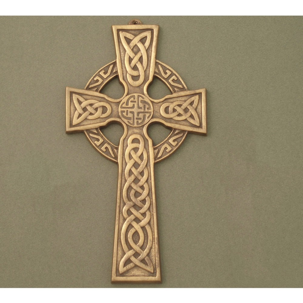 Large Celtic Wall Cross with Knot center Antique Brass